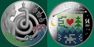 Lithuania 2021 silver coin Fairy Tale 5 Euro Eglė - Queen of Serpents Proof ,box