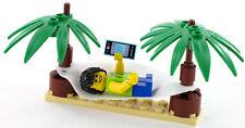 LEGO City Minifigur Junge in Hängematte mit MP3 Player zwischen Palmen, NEU