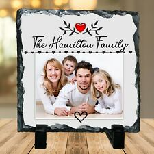 Personalised Family Name Photo Rock Slate Plaque N20 Gift Home Decor