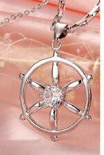 Argento, Placcato in Oro Bianco Navi Ruote Collana con pendente cristallo