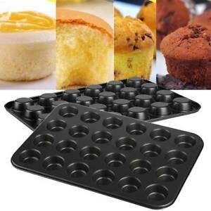 Deluxe 24 Mini Cheesecake Cup Cake Tray Non Stick Muffin Cupcake Baking Tin Pan