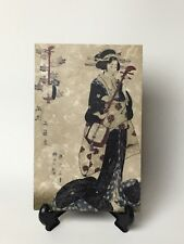 Unique Studio Verta Marble Stone Tile of Geisha Lady Playing Music, Ohio