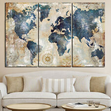 ES_ 3Pcs World Map Modern Wall Oil Canvas Painting Print Home Decor Unframed Com