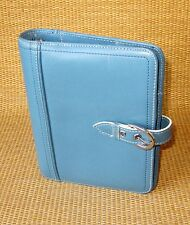 """Compact 1"""" Rings   Blue UNSTRUCTURED LEATHER FRANKLIN COVEY OPEN Planner/Binder"""