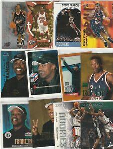 STEVE FRANCIS Lot (59) different W/ 14 INSERTS 10 1999-00 ROOKIES RC EMERALD