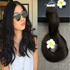 "Full Hair 20"" Remy Seamless TapeWeft Human Hair Extensions Dark Brown #2 (B47)"