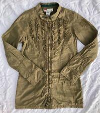 Diesel girls army green windbreaker coat jacket top sz 6 7 EUC