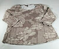 Chicos Women's Top Size 1(M/8) Brown/White Floral Pattern 3/4 Sleeves Round Neck