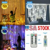 300LED Party Wedding Curtain Fairy Lights USB String Light W/ Remote Control HOT