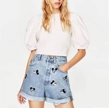 Denim Short Cotton Mickey Mouse High Waist Vintage Holes Loose DIY Women Fashion