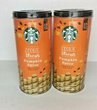 2 NEW STARBUCKS PUMPKIN SPICE Cookie Straws Tin Containers 9.1 oz BB 4/26/20