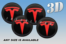 TESLA domed wheel center cap decals emblems stickers 4 pcs ~ ANY SIZE ~ red/b
