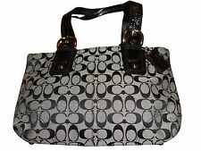 COACH SOHO SIGNATURE TOTE SATCHEL SHOULDER 13117 BLACK WHITE + ESTEE LAUDER CASE
