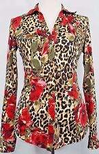 CACHE Snaps Blouse SIZE SMALL Leopard Red Roses Animal Print Stretch Shirt Top