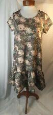 Lauren Conrad Disney Bambi Small Floral Drop Waist Short Sleeve MultiColor Dress
