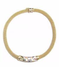 Antique Vintage Designer Asch Grossbardt Diamond & MOP Enamel Inlay Necklace