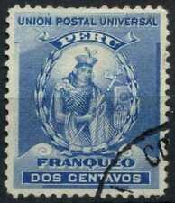 Peru 1896-1900 SG#337, 2c Blue, Atahualpa Used #E1259