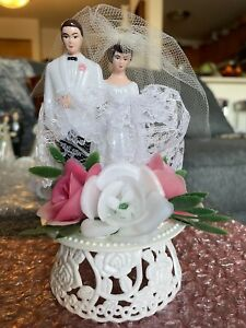 Vintage Cake Topper Bride & Groom Brown Hair Pink Flower Lace