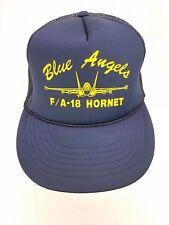 Vtg McDonnell Douglas F/A-18 Hornet Blue Angels Mesh Trucker Hat Snapback
