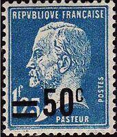 "Francia Sello Stamp Yvert 222"" Pasteur 1F25 Azul Sobrecarga 50c"" Nueva Xx Lujo"