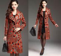 UK Women Warm slim wool blend Long Coat jacket outwear winter coat plus size Hot