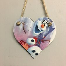 Disney Frozen 2 Olaf  Wooden Hanging Heart Plaques Door Hanger Sign Decoupaged