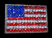 Rhinestones USA American United States Flag Belt Buckle Buckles