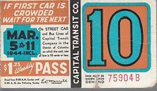 Trolly/Bus pass capital Transit Wash. DC--1944-----79
