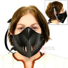 Classic Japanese Mempo Ninja Mask Face Covering Leather Armor Adjustable Black