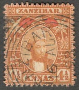 AOP Zanzibar 1896 4 1/2a used SG 165 £8