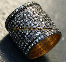 Amazingly Vintage 4.30cts Natural Rose Cut Diamond Silver Eternity Ring Jewelry