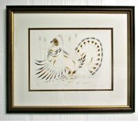 EDDY COBNIESS Lithograph Art 4-Color GROUSE DRUMMING Framed Matted 59/400 N11