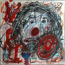 Ecole Dubuffet .Le clown II  ,Technique mixte sur toile signée