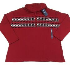 Chaps Womens Top Size 2XL XXL Holiday Red Drawstring Turtleneck