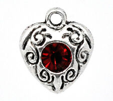 10 ANTIQUE SILVER RED CRYSTAL HEART CHARMS/PENDANT 10mm x12mm WEDDING-CARDS(18E)