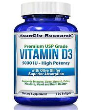 Vitamin D3 5000 IU - In Non GMO Organic Olive Oil - 360 Softgels