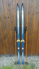 "VINTAGE Wooden 72"" Skis with BLUE Finish + Signed MADSHUS Have Metal Bindings"