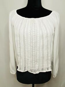 Hollister Juniors White Embroidered Long Sleeve Peasant Blouse Top Size XS