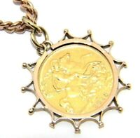 Women's Ladies 9ct Rose Gold Albert Chain & 22ct Half Sovereign '1913' Pendant
