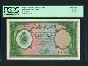 Libya:P-21, 5 Pounds ,1955 * King Idris Era * RARE * PCGS VF 30 *