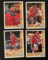 4 Card Washington Bullets Autographed Card Lot Pervis Ellison + More