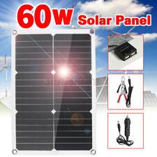 60W/50W/40W/15W 12v Portable Flexible Car Solar Panel Charger Home USB Phone Kit