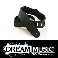 DSL Padded Leather / Suede Guitar Strap - Black with Black Back - GES25-15-1