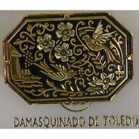 Damascene Gold Dove of Peace Design Octagon Brooch by Midas of Toledo Spain
