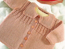 """Button Up Baby Coat with Square Collar 16"""" - 26""""/ 0-6 years  DK Knitting Pattern"""