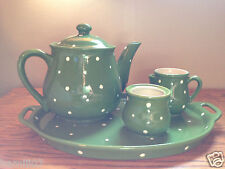Temp-tations Green & White Polka Dot Tea Set Platter, Creamer, Sugar