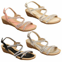 ladies wedge diamante sandals Kelsi womens flat open toe buckle summer shoes new