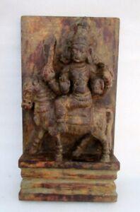 Antique Old Hand Carved Wooden Hindu Jain God Mahaveer Budda Nude Figure Statue