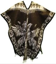 HEAVY BLANKET Mexican PONCHO GALLOS 2 DARK BROWN ONE SIZE FITS ALL Blanket Gaban