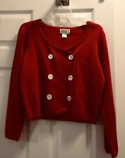 Vtg Apart Impressions Double Breasted Knit Sweater Jacket Size S Red